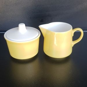 Vintage Yellow Sugar Bowl w/ Lid & Creamer Set